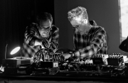 Steev feeding the music electronics by camera | Negativland